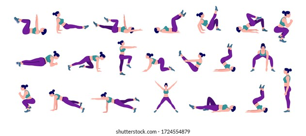 Workout girl set. Woman doing fitness and yoga exercises. Lunges and squats, plank and abc. Full body workout. - Shutterstock ID 1724554879