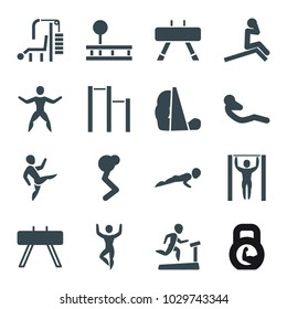 Workout icons. set of 16 editable filled workout icons such as fintess equipment, man doing exercises, abdoninal workout, horizontal bar, man on treadmill, gym equipment