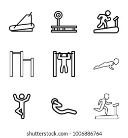 Workout icons. set of 9 editable outline workout icons such as fintess equipment, man doing exercises, man on treadmill, treadmill, bar   tightening, abdoninal workout