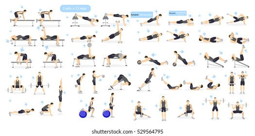 Workout Man Set Male Doing Fitness And Yoga Exercises Lunges Squats Plank