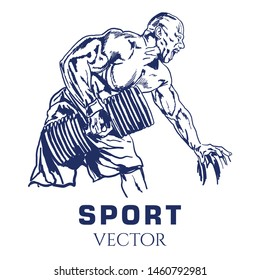 Workout man. Sport Vector Sketch. Fitness