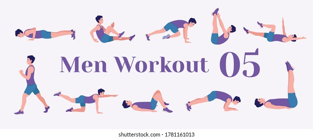 Workout men set. Men doing fitness and yoga exercises. Lunges, Pushups, Squats, Dumbbell rows, Burpees, Side planks, Situps, Glute bridge, Leg Raise,  Russian Twist, Side Crunch, Mountain Climbers.etc
