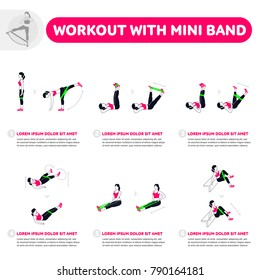 Workout with mini band. Fitness, Aerobic and workout exercise in gym. Vector set of gym icons in flat style isolated on white background. People in gym. Gym equipment.