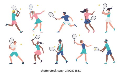 Workout playing tennis vector illustration set. Cartoon young woman man sportive characters in sportsman uniform play tennis, players holding rackets and hitting ball collection isolated on white