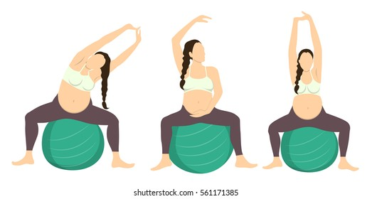 Workout for pregnant set. Exercises with fit ball. Yoga training. Healthcare for young mothers. Arm stretches.