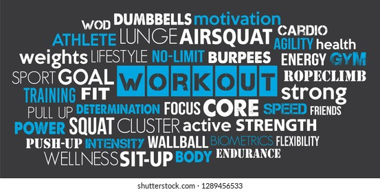 Workout sport word cloud concept text is outline blue and dark grey