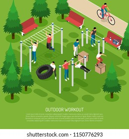 Workout at sports equipment with jumps wheel lifting pull ups in summer park isometric vector illustration
