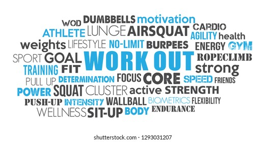 Workout word cloud keyword concept