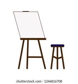 The workplace of the artist. Easel and stool. Vector illustration. White background.