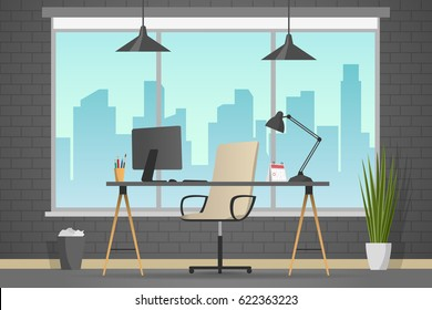 Workplace banner. Office theme flat style illustration. Vector table in empty office room. Designer cabinet in white room.  Computer on the desk modern flat style.