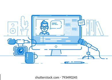 Workplace of blogger or video editor with monitor and interface of application for video editing process. Professional camera and microphone for recording. Cool modern vector illustration. Thin lines.