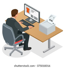 Workplace. Businessman  Working at the computer. Man looking at the laptop screen. Flat 3d vector isometric illustration
