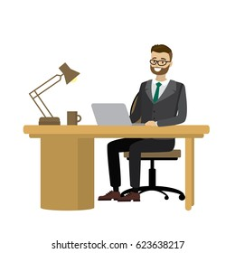 Workplace. Businessman Working at the computer.Isolated on white background.Cartoon vector illustration