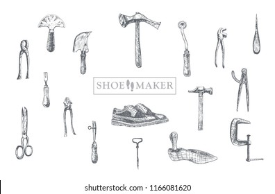 Workplace for cobbler. Hand drawn vector set of shoemaker and leather craft tools. Shoe repair elements. Working handmade tools. Boot-tree, cobbler's awl, bristle, shoe lasts, shoe shears, hammer