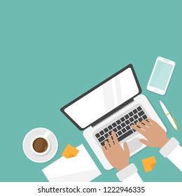 workplace with coffee, smartphone and laptop with hands on the keyboard. human hands using computer isolated on blue background. notebook top view. freelancer typing. Vector illustration.  top view