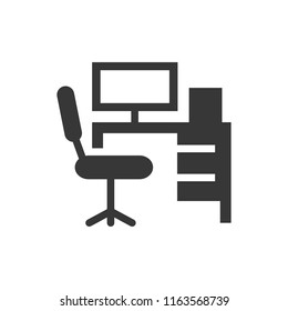 workplace, computer and chair. monochrome icon