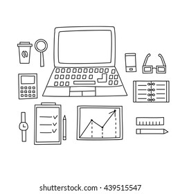 Workplace with a computer drawn by hand doodle style. Vector illustration.