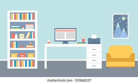 Workplace with computer, furniture and bright accents. Vector illustration