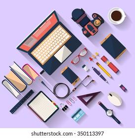 Workplace concept. Business concept. Flat design.