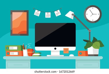 Workplace concept. Office table. Design for co working. Desktop with computer, folders, coffee mug, reminder stickers, organized, table lamp and plant. Wall clock and picture