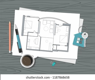 Workplace - Construction project architect house plan with tools, and house drawing. Construction background.