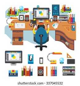 Workplace of design pro:  table, computer, monitor screen,  camera on it, lamp, clock, tablet, chair, designer on work, picture. Flat vector stock isolated set.