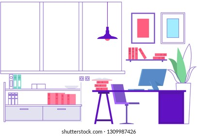 Workplace. Empty modern office interior. Vacant place, learning classroom or home workspace