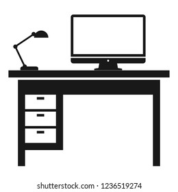 Workplace flat icon isolated on white background. Desk, monitor, computer, lamp symbols. Vector illustration