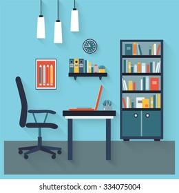 Workplace flat vector design interior.