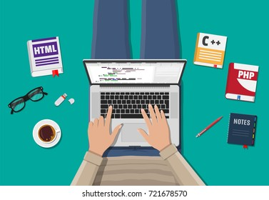 Workplace of freelance programmer or coder. Laptop, books, coffee, glasses. Software coding, programming languages, testing, debugging, web site, search engine seo Vector illustration in flat style