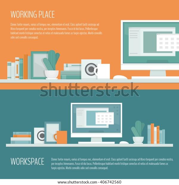 Workplace Freelancer Desk Computer Shelves Equipment Stock