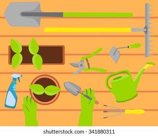 Top View Gardening Tool Stock Illustrations Images Vectors