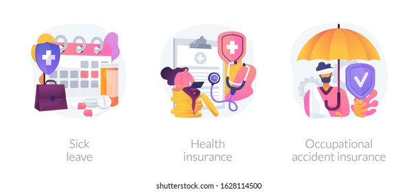 Workplace guarantees and perks. Financing employees diseases treatment. Sick leave, health insurance, occupational accident insurance metaphors. Vector isolated concept metaphor illustrations