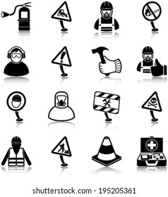 Workplace health and safety related icons/ silhouettes