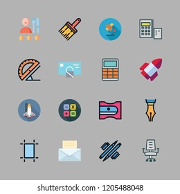 workplace icon set. vector set about desk chair, calculator, office material and people icons set.