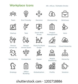 Workplace Icons - Outline styled icons, designed to 48 x 48 pixel grid. Editable stroke.