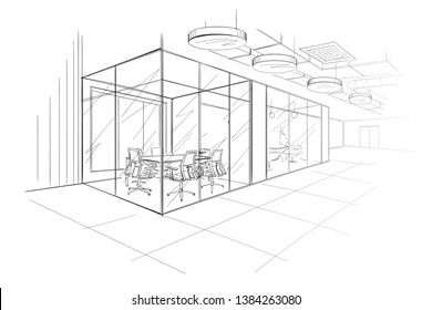 The Workplace Illustration. Hand drawn.