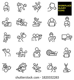 Workplace Injury Thin Line Icons -  stock illustration. A worker with a broken arm, worker wearing hardhat and hurting back while bending over, person falling back on work chair, wrist injury.