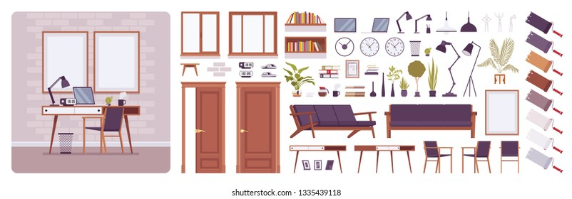 Workplace interior, home or office room creation kit, freelance working space set with furniture, constructor elements to build own design. Cartoon flat style infographic illustration, color palette