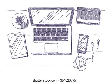 Workplace with laptop, notebook, smartphone, tablet and cup of coffee vector drawn illustration