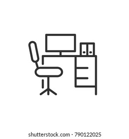 Workplace. linear icon. Line with Editable stroke