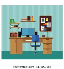 Workplace, living room with table, computer and books. Vector set.