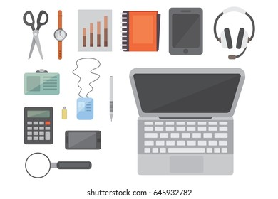 Workplace with mobile devices and documents. Office personal and Business Icons vector set. work table with gadget laptop flat illustration