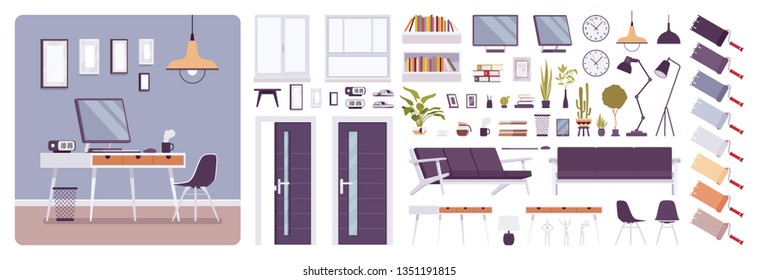 Workplace modern interior, home or office room creation set, working space kit with furniture, constructor elements to build your own design. Cartoon flat style infographic illustration, color palette