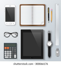 Workplace office and business work elements set. Mobile phone, calculator, notebook, pen, tablet, watches and other office things and equipment, finance and marketing objects, development tools.