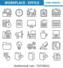 Workplace and Office Icons. Professional, pixel perfect icons optimized for both large and small resolutions. EPS 8 format. 2x size for preview.