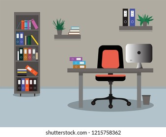 Workplace office interior. Chair, desk, bookcase, computer. Vector illustration