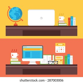 Workplace, office room, home room, school room, workspace flat illustration concepts set. Flat design concepts for web banners, web sites, printed materials, infographics. Creative vector illustration