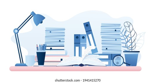 Workplace, office supplies. Paper work, learning process, open textbook on table. Office day, modern desk close up. Horizontal banner in trendy blue style. Flat vector illustration