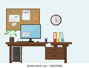 Workplace in the office with table, computer and clock and notice board on the wall